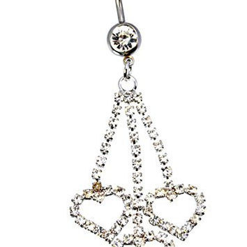 New 16 GA 10mm 3 Heart Rhinestone Dangle Barbell 316L 5mm 8mm Balls Belly Button Naval Ring 682