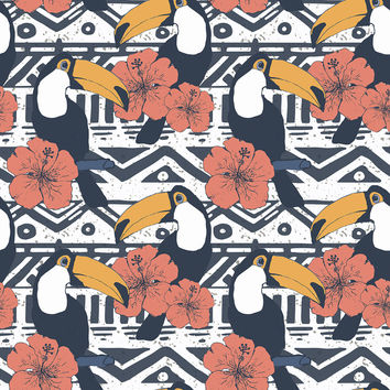 Tribal Pattern with Toucans Removable Wallpaper