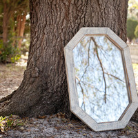 Large White and Grey Octagon Mirror made of Old Reclaimed Lumber from an Old Church OOAK