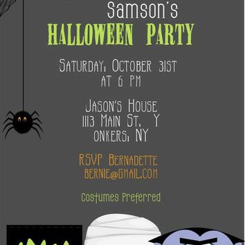 Spooky Monsters Halloween Party Invitations
