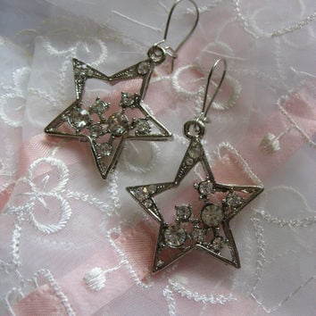 Midnight shiny stars Swarovski rhinestone crystals dangly chandelier earrings