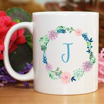 Personalized Initial Wreath Mug