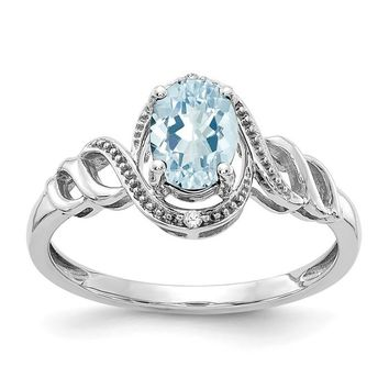 10k White Gold Genuine Oval Aquamarine & Diamond Ring