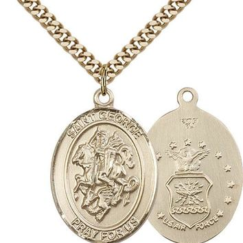 14K Gold Filled St George Air Force Military Soldier Catholic Medal Necklace 617759800685