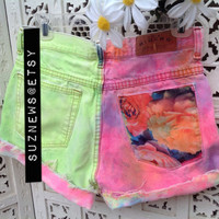 Rave Neon Bright Pink Spray Dye High Waisted Shorts Tropical Floral Pocket Lime Tropic Size 28 Waist //SuzNews Etsy Store//