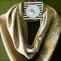 Infinity Scarf Taupe with Cream Speck Repurpused Buttons Multi Wear - Cowl Natural Tan Khaki