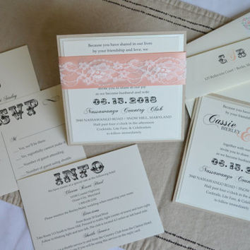 Georgia Peach Wedding Invitation Set of 75 Vintage peach square invite earth friendly lace wedding invitation peach invitations lace modern