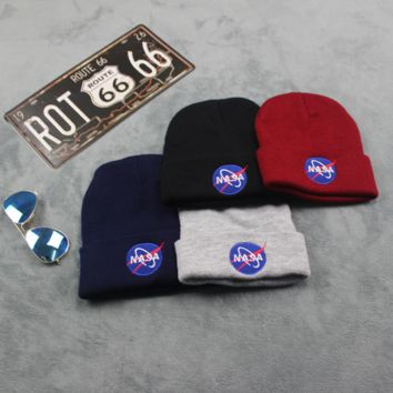 Autumn Winter NASA Embroidery Soft knitted Beanies Hat