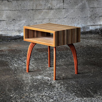 Open end table - reclaimed edge grain plywood and solid wood or hairpin legs