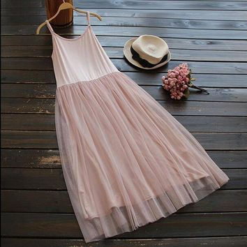 Mori Girl Style Lolita Vintage Spaghetti Strap Lace Basic Dress Women Casual Cothing Summer Dresses Vestidos Oncinha Faldas