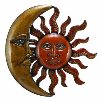 "Benzara Metal Sun Moon Wall Decor Antique Wall Art 20"" D"