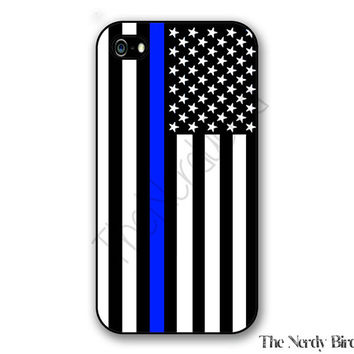 Thin blue line American flag iPhone 4, 5, 5c and 6 and Samsung Galaxy s3, s4 and s5 phone case