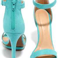 Suede Away Bright Jade Suede Platform High Heel Sandals