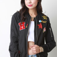 Assorted Patches Zip Up Bomber Jacket