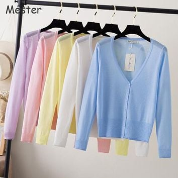 2017 Summer Cardigans Women V Neck Long Sleeve Knitted Thin Sweater Candy Sheer Cardigan Sun Protection Coat Air Conditioning
