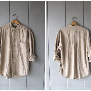 Minimal Raw Silk Blouse Beige Button Up Shirt Vintage 90s Brushed Silk Pocket Shirt Collarless Long Sleeve Slouchy Top Mens Medium
