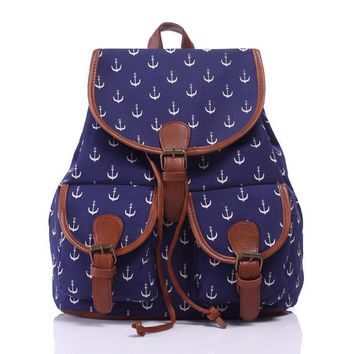 Day-First™ Navy Blue Anchor Canvas Backpack Casual Daypack
