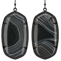 Kendra Scott Danielle Drop Earrings - Black Banded Agate