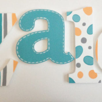 Turquoise Polka Dots, Stripes & Stitched Wooden Wall Name Letters / Hangings, Hand Painted for Boys Rooms, Play Rooms and Nursery Rooms