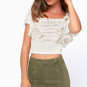Modern Femme Olive Green Denim Mini Skirt