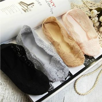 women sock 10piece=5pairs/lot female invisible socks slippers shallow mouth summer thin lace low cut Socks ankle heal short sock