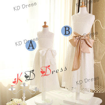 Ivory Lace Flower Girl Dress Children Birthday Party Dress Kids Dress with Ivory/Champagne Sash/Bow(Z1002)