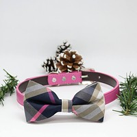 Plaid Pink dog bow tie collar, Puppy Gifts, Dogs Birthday gift, Pet wedding accessory