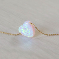 Opal necklace, heart necklace, gold necklace, opal heart necklace, white opal necklace, white opal jewelry, october birthstone