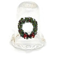 Vintage Crystal Thimble - Ullmann Glass 1990 Christmas Wreath Hand Painted Crystal Thimble