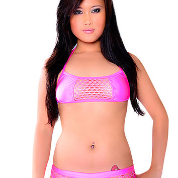 NEON PINK NET BOOTY SHORT SET-Stripper Wear