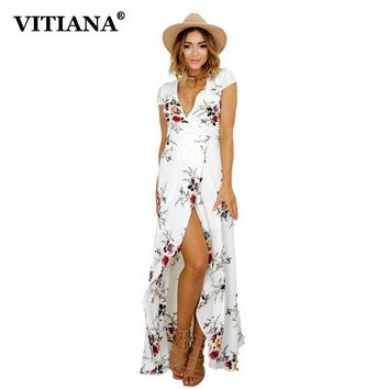 VITIANA 2017 Women Summer Vacation Bohemian Beach Dress White Black Flower Print Boho Maxi Long Casual Clothing With Belt
