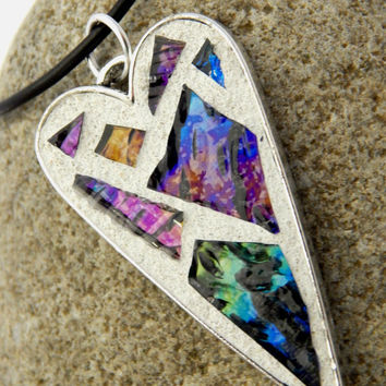 Necklace With Mosaic Heart Pendant, Antiqued Silver Base with Iridescent Glass Mosaic on Adjustable 18 to 20 Inch Leather Cord