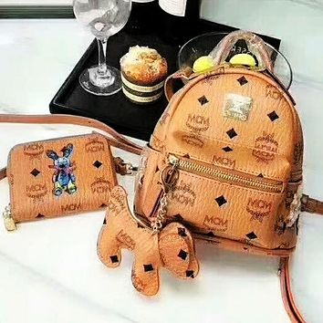 MCM three-piece set with full package / double zipper head / big wallet / shoulder strap / puppy pendant Brown