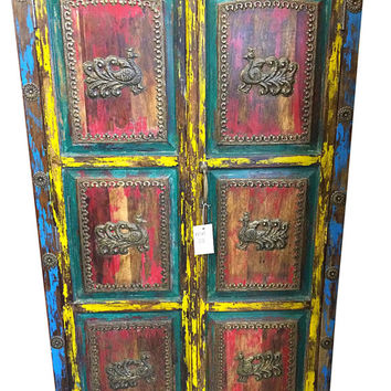 Vintage Furniture-Jodhpur Peacock Carved Teal Patina Storage Armoire Cabinet Reclaimed  Indian