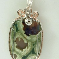 Rain Forest Jasper Pendant Wire Wrapped GEMP739