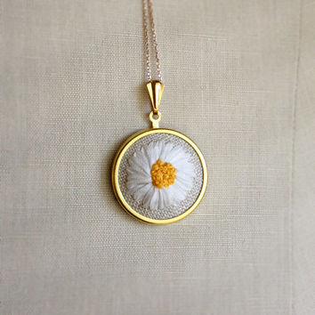 Silk Ribbon Embroidery Embroidered Necklace Gerbera Daisy Flower Pendant or Brooch