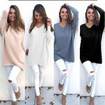 Pure color Leisure blouse sweater-1