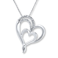 Double Heart Necklace Diamond Accents Sterling Silver