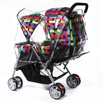 Behogar Universal PVC Double Front-to-Back Baby Stroller Pram Buggy Transparent Rainproof Cover Rain Shade Dust Shield Accessory
