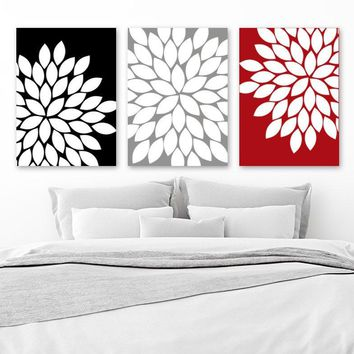 Flower Wall Art, RED BLACK Gray Bedroom CANVAS or Prints, Floral Bathroom Decor, Gray Red Black Bathroom Pictures, Set of 3 Artwork Pictures
