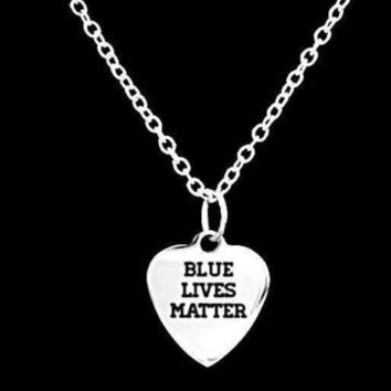 Blue Lives Matter Police Officer Gift LEO Wife Mom Daughter Son Charm Necklace
