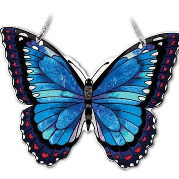 Large Blue Morpho Butterfly Suncatcher 7 inch