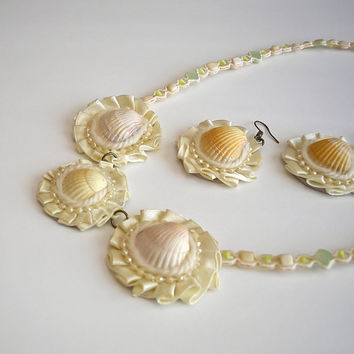 White Jewelry Set Shell by MagicSunday on Etsy
