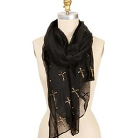 Black Cross Studded Scarf