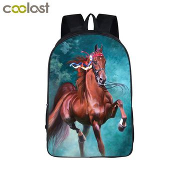 Oil Painting War Horse Backpack