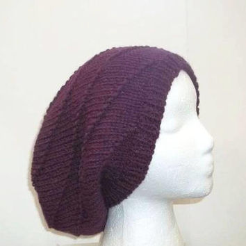 Purple slouch hat  knitted  5330