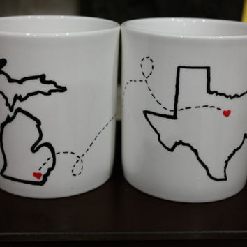 State or Country Custom Mugs- Christmas, Best Friends, Going Away Gift, Moving Away, Long Distance Relationship, Sweetest Day, Army, New Job