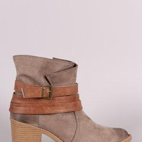 Qupid Wrapping Straps Western Boots