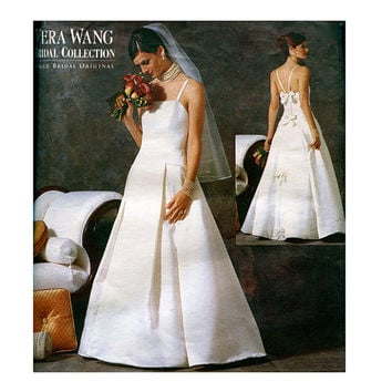 2000s VOGUE WEDDING DRESS Patterns Vera Wang Fit & Flare Bridal Gown Designer Vogue 2527 UNCuT Womens Sewing Patterns Plus Size 18 20 22