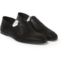 Alexander McQueen - Snake-Effect Leather Loafers | MR PORTER